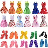 Doll Accessories 12 Pcs Mixed Doll Clothes Dress and 10 Pairs Doll Shoes Fix For Barbie Doll Girl Birthday Christmas Gift (22pcs)