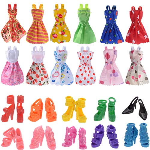 Pcs Mixed Doll Clothes Dress and 10 Pairs Doll Shoes Fix For Barbie Doll Girl Birthday Christmas Gift (22pcs) ()
