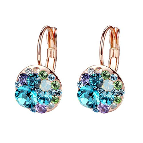 Multicolored Swarovski Crystal Earrings for Women Girls 14K Gold Plated Leverback Dangle Hoop Earrings (Blue Green Crystals/Rose Gold-tone) 14k Leverback Dangle Earrings