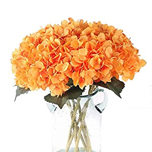 Blooming Paradise Pack of 3 Artificial Fake Flowers Plants Silk Hydrangea Arrangements Wedding Bouquets Decorations Plastic Floral Table Centerpieces Home Kitchen Garden Party Festival Bar(Orange) 85