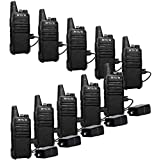 Retevis RT22 Walkie Talkies Rechargeable Long Range Two Way Radio 2 Way Radio for Adults  Handsfree VOX Mini  for Business Office School Church Restaurant Retail(Black 10 Pack)