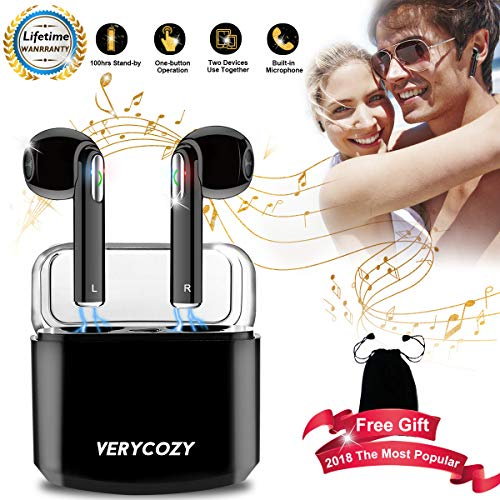 Wireless Earbuds Stereo,Bluetooth Headphones Earphones Earbud with Mic Sweatproof Mini in-Ear Earbuds Earphones Earpiece Sweatproof Sports Earbuds with Charging Case by VERYCOZY