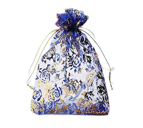 Riverer 100 pcs Gold Roses Pattern Organza Gift Bags, 13x18cm (5.1x7.1 -