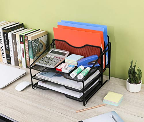 EasyPAG Mesh Desk Organizer Desktop File Holder with 3 Tier Letter Tray and 2 Vertical Compartment,Black by EasyPAG (Image #4)