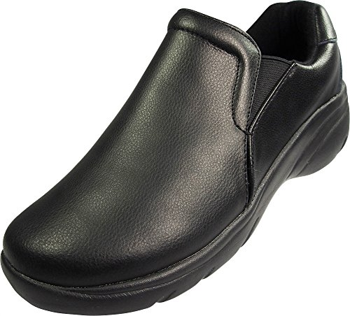 Natural Uniforms - Ladies Wide Width Leather Work Medical Nurse Shoe, Black ()