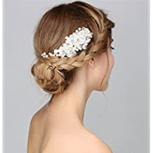 Vintage Wedding Bride Flower Austria Rhinestone Pearl Flower Gold Combs Hair Accessories (White)