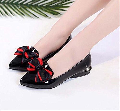 Zapatos Verano Negro Negro 35 Tacón con Rojo Tacón bajo on Tamaño Zapatillas Talla y para de 35 de 39 Color Cuadrado Slip Solapa Primavera Mujeres Zapatos rFxgTarnwq