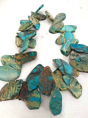 Blue snak Skin Jasper Jewelry- Imperial Jasper Terra Jasper 25-40mm 17inch Slab Focal Freeform Gemstone Beads - Snakeskin Pendant