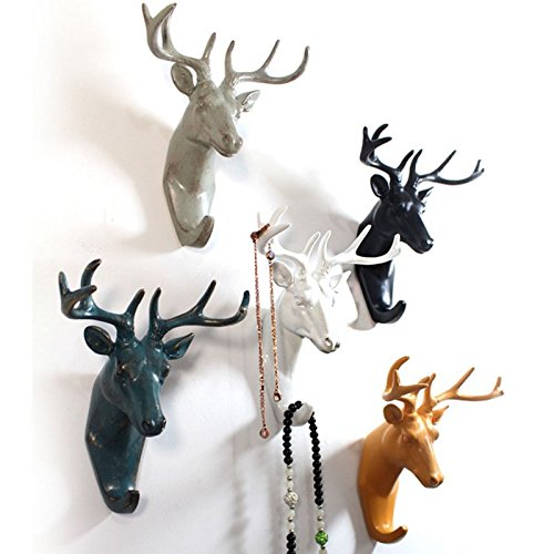 coat hangers hooks Antique Finish Modern Hook Animal Resin Craft Clothes Coat Hanger Home Wall Decoration coat hangers wall mount (White)
