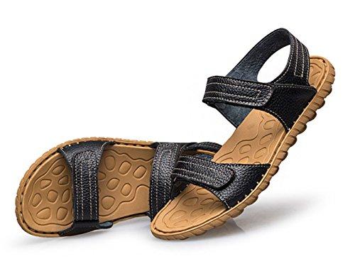ICEGREY Herren Leder Sandalen Weicher Leder Freizeit Hausschuhe Sandalen Outdoor Sommer Strand Pantolette Schuhe Schwarz 46