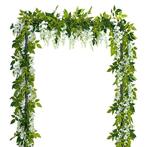 Sunm boutique Artificial Flowers Wisteria Garland Vine Rattan Hanging for Home Garden Ceremony Wedding Arch Floral Decor, 6.6 Feet, 4pcs, White -
