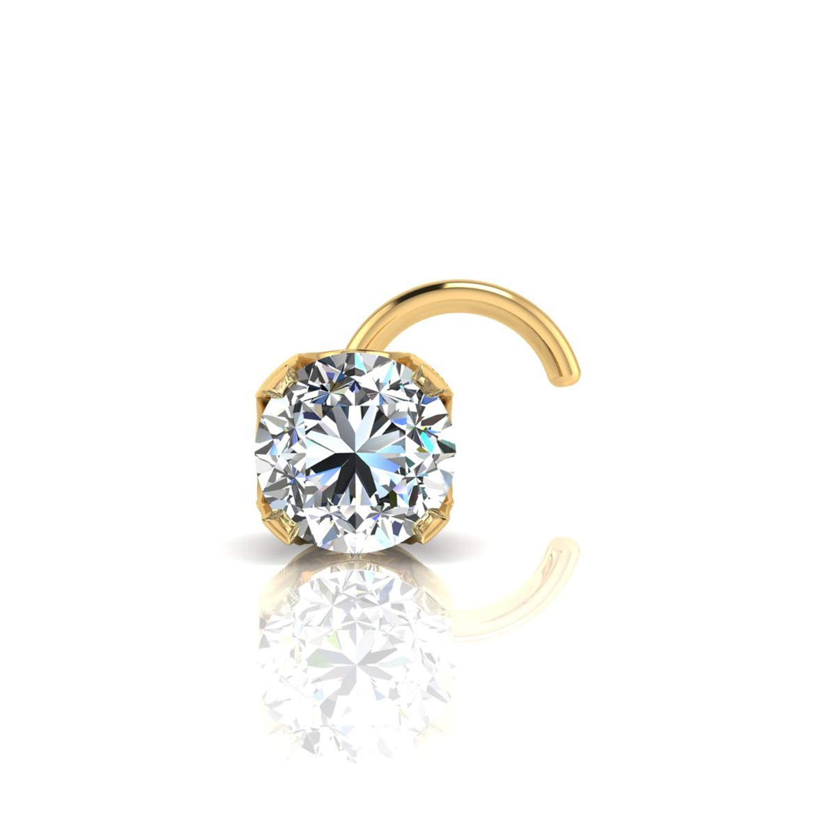 2mm 0.03 Carat Diamond Stud Nose Ring In 14K Yellow Gold by Sparkle Bargains