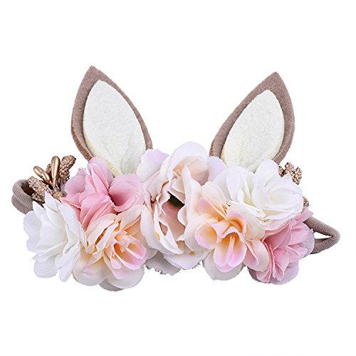 LAHHEY Bunny Easter Headband Little Bunny Rose Easter Headbands Birthday Princess Hair Bands]()