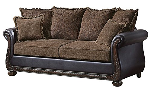 Homelegance Grand Isle Traditional Style Vinyl Sofa, Brown For Sale