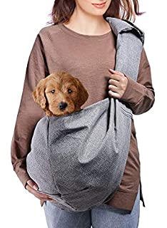 f1b8a006dc AOFOOK Dog Cat Sling Carrier, Adjustable Padded Shoulder Strap, with Zipper  Pocket for Outdoor