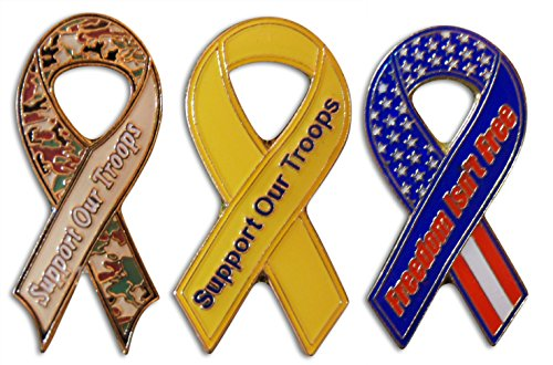 Usa Costume For United Nation (3-Piece Support Our Troops Patriotic Ribbon Lapel or Hat Pin &Tie Tack Set with Clutch Back by Novel Merk)