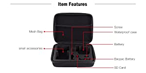 TEKCAM Action Camera Carrying Case Protective Bag Compatible with Gopro Hero 7 6 5/AKASO ek7000 Brave 4 6/APEMAN/Campark/Crosstour 4k/VanTop/Dragon Touch Waterproof Camera Travel Storage (Medium) (Color: Case-Medium)
