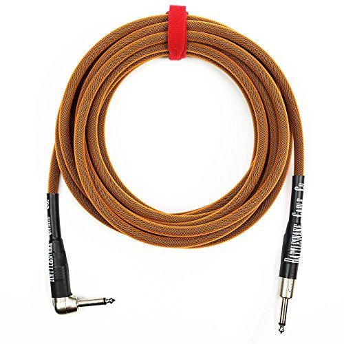 - Rattlesnake Cable - 20 Foot Standard Copper Guitar Instrument Cable Straight to Right Angle 1/4-Inch plugs