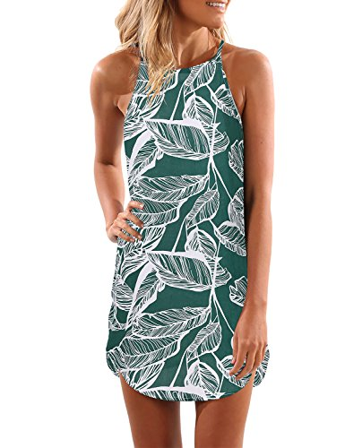 Tank Tropical Dress (Blooming Jelly Women's Sleeveless Printed Flower Style Casual Floral Mini Dress)