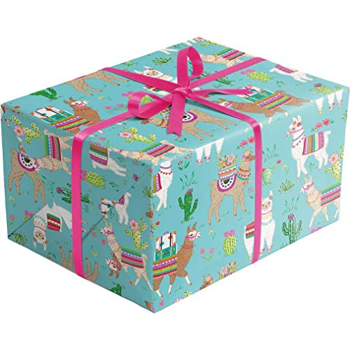 (Dolly Llama - 30 Inches Wide x 10 Feet Long - Folded Flat Sheet Gift Wrapping Paper   Printed in Italy   Colors of Rainbow)