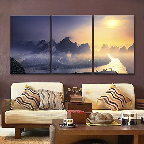 3 Panel Bird View Landscape of Mountains Rivers and Village in The Evening x 3 Panels