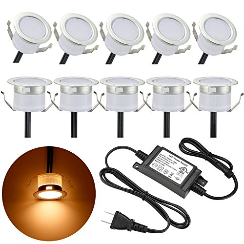 - LED Deck Lights Kit, Low Voltage 10 pcs Waterproof IP65 Φ1.22 Recessed Deck Lamp Warm White LED In-ground Lighting Outdoor Garden Yard Pathway Patio Step Stairs Landscape Decor Lamps, Pearl Chrome