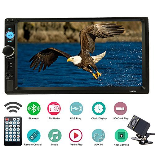 Joycar 7inch Double Din Bluetooth LCD Receiver, Touch Screen FM Radio,Car Stereo USB SD Aux input MP5 Player with Rear View Camera