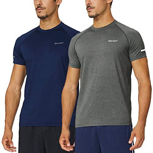 Baleaf Men's Quick Dry Short Sleeve T-Shirt Running Fitness Shirts Navy/Grey Heather Size XL ()
