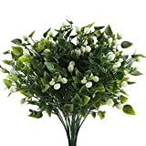 Nahuaa 4PCS Artificial Jasmine Buds Greenery Shrubs Bushes Fake Outdoor Plant Branches Plastic Faux Herb Bundles Table Centerpieces Arrangements Home Kitchen Office Windowsill Spring Decorations
