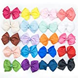 """Bzybel Little Girls' Grosgrain Ribbon 3""""/4.5""""/6"""" Hair Bow With Alligator Clips Baby Barrettes Baby Shower Gift Pack Of 20 (3"""")"""