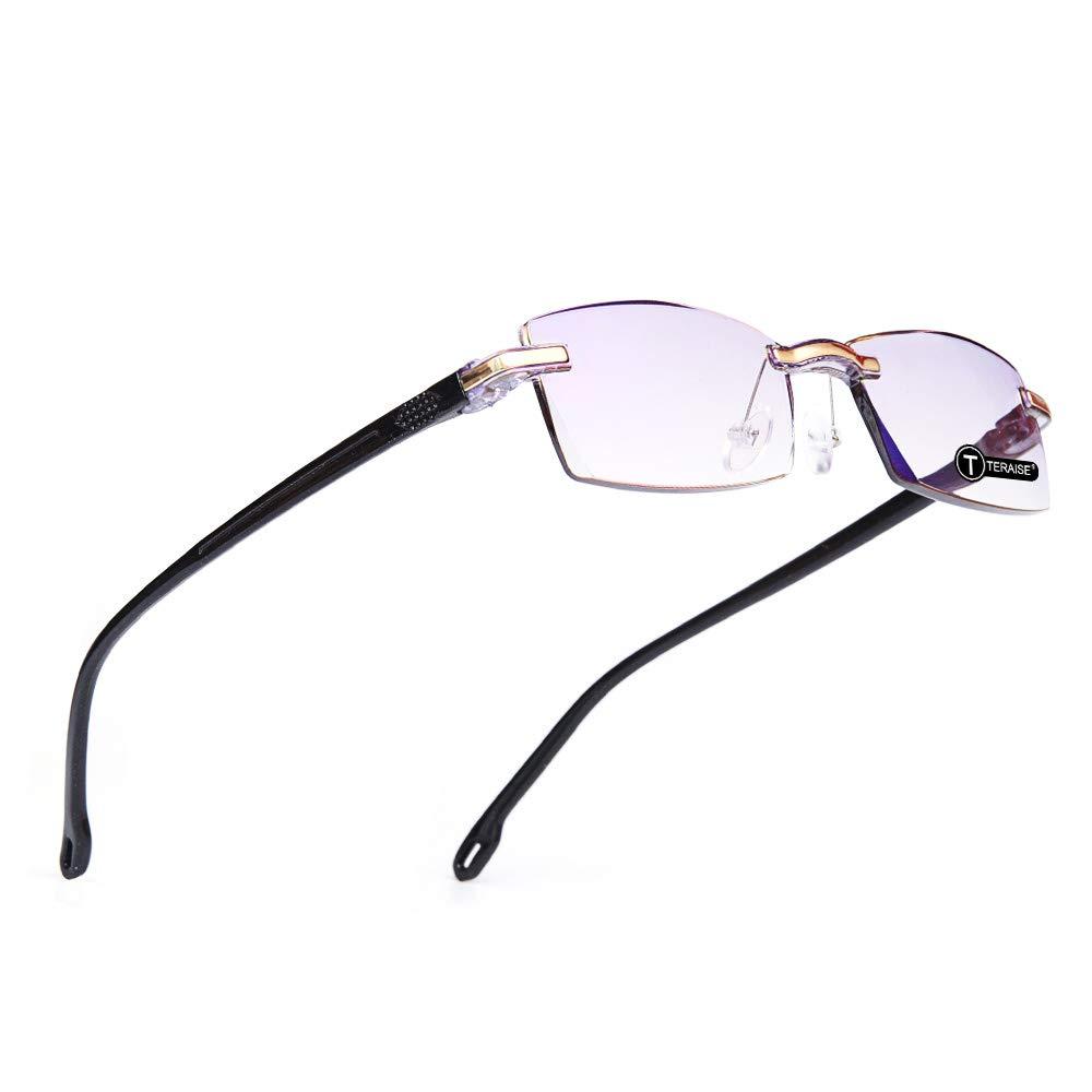 TERAISE Occhiali da lettura senza montatura Fashion Diamond Cutting Design Anti-Fatigue Lenti per occhiali trasparenti per gli uomini