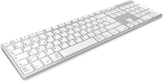 Keysonic Teclado inalámbrico Bluetooth de Aluminio para Mac, Windows, Android, Tablet y PC, batería Recargable, multicanal, Plata/Blanco