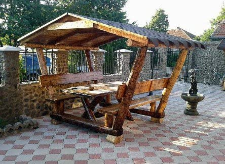 Casa Padrino Rustic Gazebo with Table and 2 Garden Benches - Solid Oak - Covered Garden Furniture Set Real Wood Solid: Amazon.es: Jardín