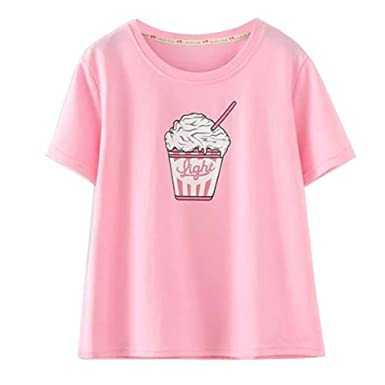 c0d2298e1d75b Amazon.com: Kawaii Blouses Cute Harajuku Shirts Ice Cream Printed Short  Sleeve Tops T Shirt,Pink: Clothing