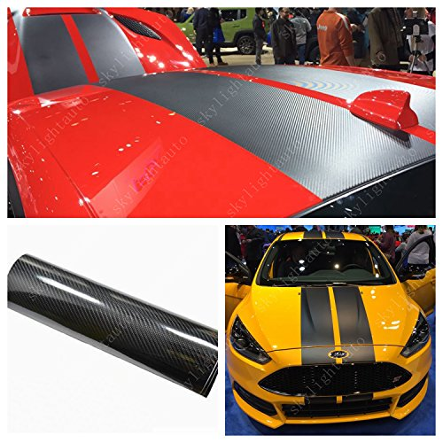 skylightauto 15cm x 350cm Black 5D HIGH Gloss Carbon Fiber Vinyl Stripe Car Hood Roof Decal Sticker (Carbon Fiber Hood Stripe)