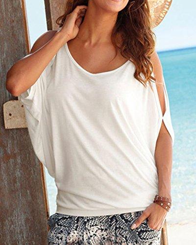 Femme Tops Courte Shirts Hauts Nue Blanc paule T Chemisiers Blouses Shirts Lache Manche rtwr1qx0g