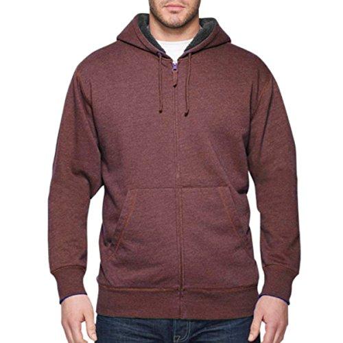 Weatherproof® Vintage Men's Full ZIP Heathered Sherpa-lined Fleece Hoodie (X-Large, Red / Rum Raison Heather)