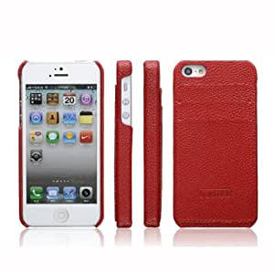 ICARER New Luxury Premium Leather Calf Back Skin Cover Case with ID Credit Card Slot for Apple iPhone 5 5G Red