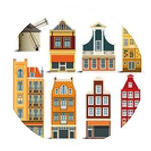 alfombrilla de ratón casas holandesas - ronda - 20cm