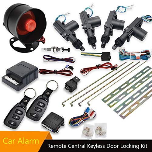 - MASO Car Remote Central Locking Kit 4 Doors Keyless Entry System + Anti-Theft Alarm Immobiliser System with Shock Sensor Universal Fits for All Car