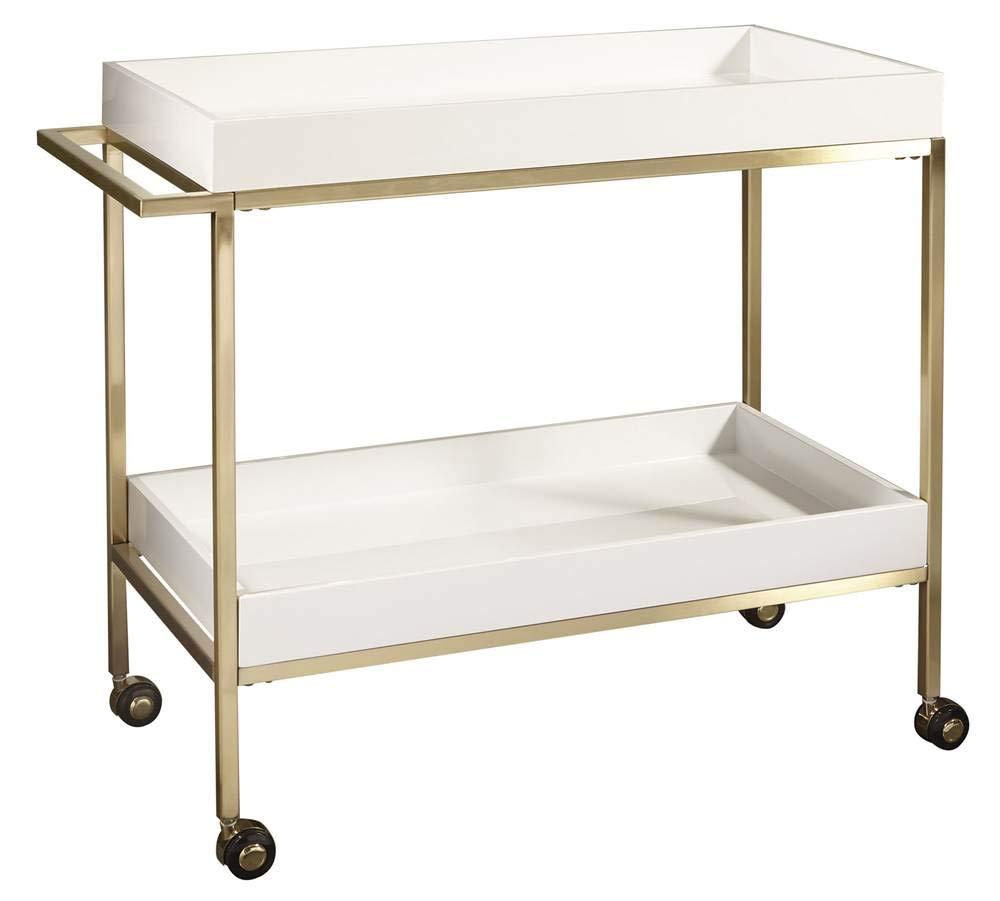Pulaski Brushed Gold & White Bar Cart Accents, Gold by Pulaski