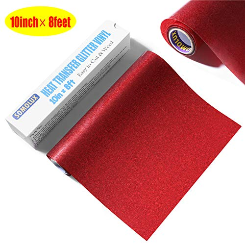 Glitter HTV Iron on Vinyl 10inch x 8feet Roll by SOMOLUX for Silhouette and Cricut Easy to Cut & Weed Heat Transfer Vinyl DIY Heat Press Design for T-Shirts - 10 Glitter Red Inch