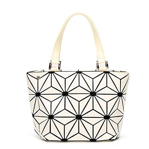 Luminoso Bucket Borse Donna Geometry Lattic Borsa Paillettes Specchio Saser Plain Tote Bag pieghevole big size white small size white