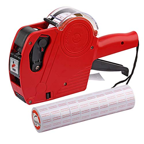 ASIBT MX5500 EOS Red 8 Digits Pricing Gun Kit with 7,000 Labels & Spare Ink ()