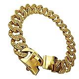 MUJING 32 mm Wide Hip Hop Gold Tone Cut Curb Cuban Link 316L Stainless Steel Dog Choke Chain Collar 45-75CM,XXXXL