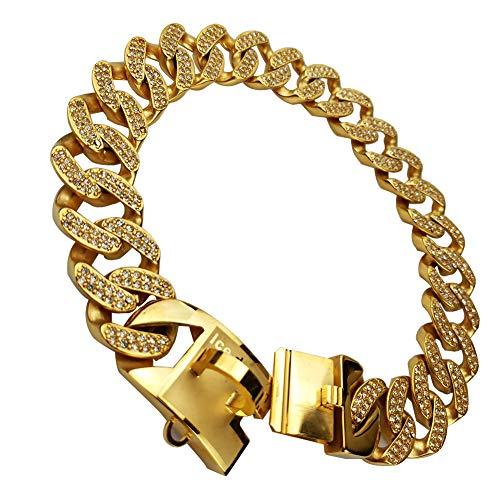 MUJING 32 mm Wide Hip Hop Gold Tone Cut Curb Cuban Link 316L Stainless Steel Dog Choke Chain Collar 45-75CM,XXXXL by MUJING (Image #4)
