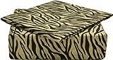 Clara Clark Signature 820 Collection 4 pc Bed Sheet Set, Full Size, Zebra Animal Print, Tan Cream