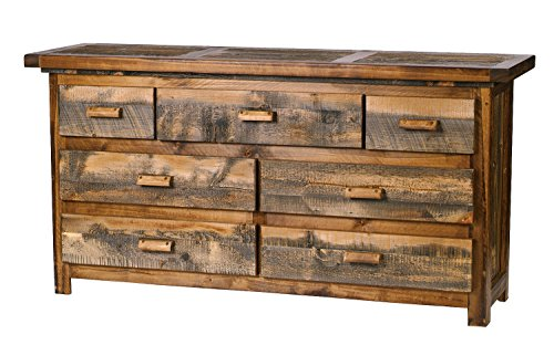 Mountain Woods Furniture The Wyoming Collection 7 Drawer Dresser, Antler Pull, 72
