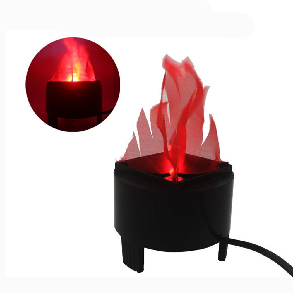 Electronic LED Fake Fire Flame Simulated Flame Effect Light No Heat Base Support Halloween Artificial Flame 3D Campfire Centerpiece for Christmas, Festival Night Clubs (3D Triangle Flame) ELEOPTION HM-222-005