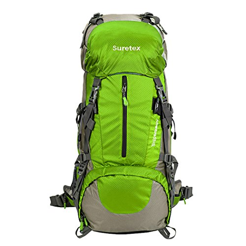 aab981c84ec6 Suretex 50L-60L Waterproof Outdoor Sport Hiking Trekking Camping Travel  Backpack Pack Mountaineering Climbing Knapsack with Rain Cover (Light  green